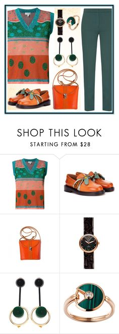 """""""Orange vs green"""" by amisha73 ❤ liked on Polyvore featuring Delpozo, Victoria, Victoria Beckham, Maison Margiela, Marni and Cartier"""