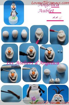 Solar snowman МК лепка Олаф (Холодное сердце (мультфильм)) -Olaf (Frozen) character cake topper tutorial - Мастер-классы по украшению тортов Cake Decorating Tutorials (How To's) Tortas Paso a Paso