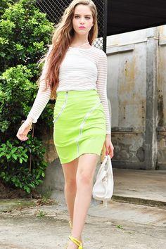 #Oasap Irregular Exposed Zip Slim Skirt, neon skirt
