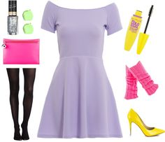 Purple dress with black leggings and bright accessories