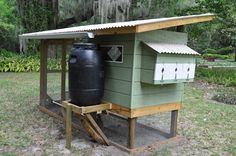 This is an awesome idea. A chicken coop rainwater catcher that automatically fills the water dispenser.