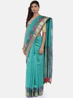 59c77cd8ff Classicate from the house of the chennai silks women's green pure  kanchipuram silk saree with blouse