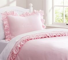 Ruffle Collection Duvet Cover #pbkids  - Pair with the Bailey quilt set and mermaid sheets.