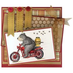 This adorable and fun card by Jennifer Dove features House-Mouse Designs' Gruffies ® Honey Ride for Stampendous.   Biggley.