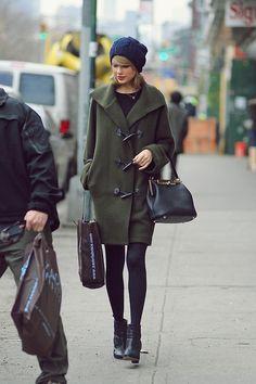 Taylor Swift wearing Ralph Lauren Black Label Merino Wool-Blend Toggle Coat Dolce & Gabbana Sara bag Rag & Bone Newbury Booties in Black
