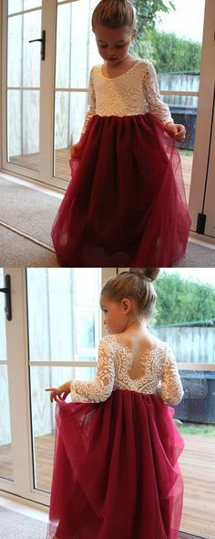 eeffcfaac00 A-Line Round Neck Long Sleeves Burgundy Flower Girl Dress with Lace