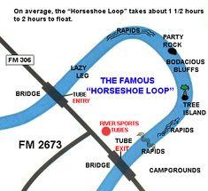 Guadalupe River Tubing Map - Horseshoe Loop - 830-964-2450