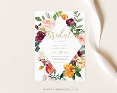 Fall Bridal Shower Invitation Template Autumn Wedding Shower | Etsy