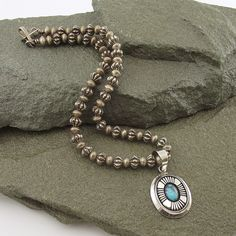Turquoise and Silver Pendant with Silver Bead Necklace - Simple Bold Style.