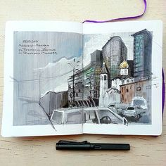 Experimenting with my #leuchtturm1917 #sketchbook. Love the contrast between the buildings. Also got frozen to death drawing that in the middle of an open car parking on the square. ----- #Moscow_in_sketches #urbansketchers #moscow #saturday #weekendsket | by Nastroeniya