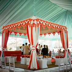 pool blue + persimmon mandap|calder clark designs|a bryan photo