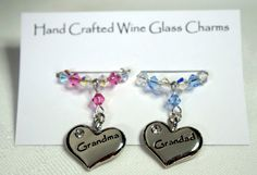 Wine Glass Charms Grandma & Grandad Wine by Makewithlovecrafts, Gifts For Nan, Grandma Gifts, Swarovski Crystals, Charms Swarovski, Wine Glass Charms, Wine Parties, Unusual Gifts, Wedding Accessories, Anniversary Gifts