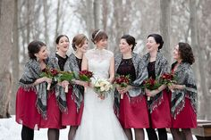 adorable bridesmaid dresses with shawls // photo by Ashley Bartoletti Photography: http://www.ashleybartoletti.com || see more on http://www.artfullywed.com
