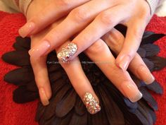 Sculpted gel nails with Swarovski crystals on ring finger....Love this.. REALLY INTO GEL NAILS NOW!!!!