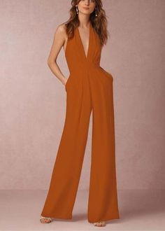 5064a45a7937 2019 New Fashion Womens Sexy Deep V-Neck Backless Halter Wide Leg Pant Jumpsuits  Sleeveless