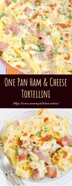 One Pan Ham & Cheese Tortellini - Food - Delicious Recipes - Best Dinner Recipes, Gourmet Recipes, Cooking Recipes, Delicious Recipes, Amazing Recipes, Cheese Tortellini Recipes, Pasta Recipes, Casserole Recipes, Leftover Ham Recipes