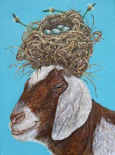 Vicki Sawyer - Available Originals Goat Art, Sheep Art, Objet D'art, Whimsical Art, Animal Paintings, Pet Portraits, Cute Art, Illustrators, Illustration Art