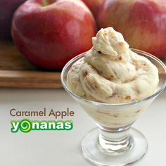 Don't limit your #CaramelAppleDay celebrations to apples on a stick! Try this creamy, dairy-free Caramel Apple Yonanas soft-serve made with 100% fruit. #bananaicecream