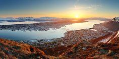 Norway city panorama - Tromsø at sunset.