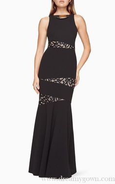 2017 BCBG Dominique Lace-Paneled Sleeveless Evening Gown Black