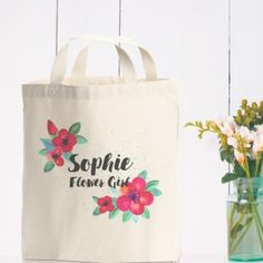 Say Thank You with one of our Flower Girl Gifts & Personalised Flower Girl Keepsakes :: Wedding Gift Ideas with Fast UK Delivery. Flower Girl Gifts, Personalized Wedding Gifts, Favor Bags, New Product, Favors, Reusable Tote Bags, Flowers, Etsy, Design