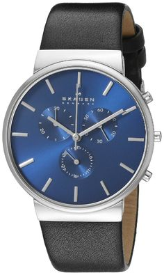 Skagen Men's SKW6105 Ancher Stainless Steel Watch with Black Leather Band * Visit the image link more details.