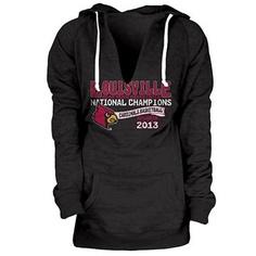 Louisville Cardinals 2013 NCAA Mens Basketball National Champions Ladies Flanked Hooded Sweatshirt - Black