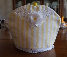 Shabby Chic Lemon Yellow Striped Print Insulating Fabric Tea Cosy / Cozy with Fabric Flower Trim and Custom Polymer Clay Bead Pull Top