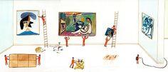 Maria Luque Sobran clavos en la sala de Picasso.
