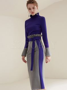 Shop for high quality Elegant Color-blocked Flare Sleeve Stand Collar Bodycon Dress online at cheap prices and discover fashion at Ezpopsy.com