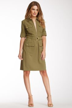 Sharagano Sharkskin III Cargo Dress