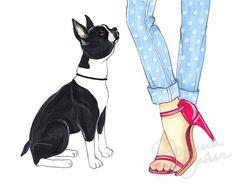 Pink Boston Terrier Illustration Art Print by joannabaker on Etsy Boston Terriers, Boston Terrier Love, Toy Fox Terriers, Art And Illustration, Boston Art, Fur Babies, Cute Animals, Puppies, Art Prints