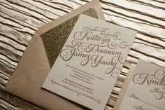 KATHRYN Suite Glitter Package, blush and gold wedding invitations, glitter wedding invitations, gold glitter wedding, calligraphy wedding invitations, letterpress wedding invitations