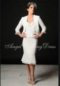 luxurious tea length v neck satin chiffon cream mother of the bride gowns at angelweddingdress
