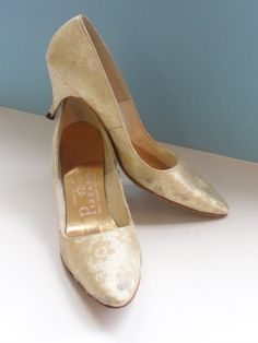 Vintage 1960s Gold Lame Heels with Kitten Heel by by HouseOfLenora, $45.00