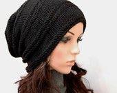 Gorro de lana grueso negro, Slouchy, sombrero negro