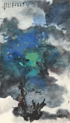 Zhang Daqian, Spring Clouds on a Rural River, 1965 (detail). Splashed ink and colour on paper, x cm. Landscape Drawings, Landscape Art, Art Chinois, Japan Painting, Art Asiatique, Art Japonais, Korean Art, China Art, Abstract Painters
