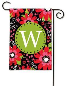 Magnet Works Bright Floral Monogram Garden Flag - W Decorative Flag at Garden Ho at GardenHouseFlags
