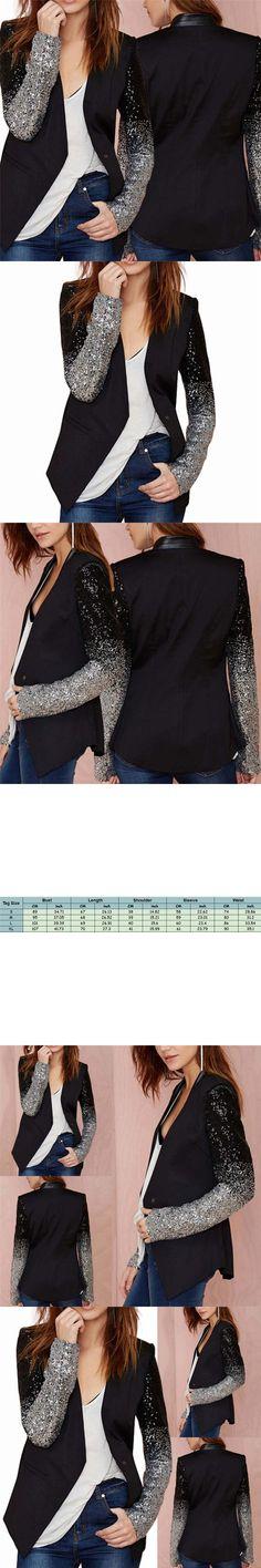 HOT Long Sleeve Lapel Silver Black Sequin Elegant Slim Women Work Blazers Suit Ladies New Spring Autumn Thin Jacket Coat