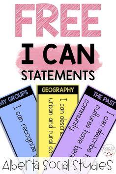 I Can Statements Social Studies Curriculum, Social Studies Resources, Teaching Resources, Teaching Ideas, Social Topics, Science Topics, Social Skills, Teaching First Grade, Third Grade Math