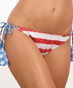 This Stars & Stripes Laser-Cut Side-Tie Bikini Bottoms - Women by Heat Swimwear is perfect! #zulilyfinds