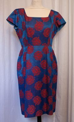 Vintage 1950s royal blue and red roses hourglass cocktail wiggle dress size L VLV rockabilly by OuterLimitz on Etsy