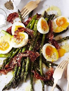 Warm Asparagus and Egg Salad with Rashers of Bacon and Toasted Hazelnuts