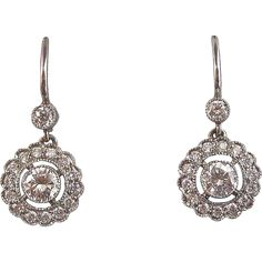 Art Deco Vintage 1930's Estate Wedding Diamond Dangle Earrings Platinum