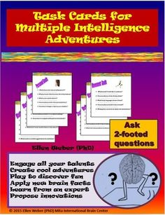 Looking for cool summer learning adventures? Ready-to-go printable materials include rubrics that also guide advanced multiple intelligence tasks on any topic.  Each intelligence comes with many specific suggestions that students love to adapt to their unique work. Included suggestions come with examples to guide the creation of unique tasks related to each intelligence and to student interests.