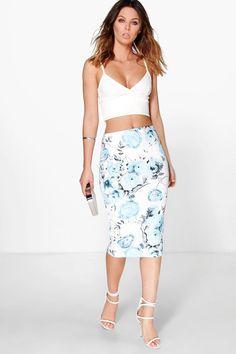 Lillian Large Floral Bodycon Midi Skirt at boohoo.com