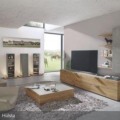 Wohnwand holzoptik  Moderne Wohnwand / aus Eiche / aus Metall / hochglanzlackiertes ...