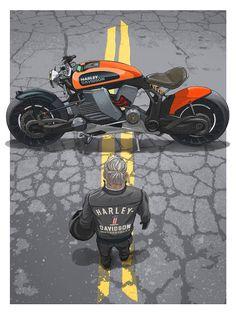 wait the Akira-style motorcycle in this story is so dope Harley Davidson Custom Bike, Harley Davidson Chopper, Magazine Illustration, Illustration Art, Book Illustrations, Akira Poster, Stunt Bike, Motorbike Design, Custom Baggers