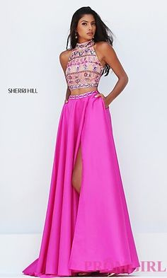 Two Piece Sleeveless Long Prom Dress by Sherri Hill at PromGirl.com