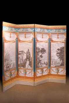 folding screen, with grisaille center panels - LOVE THIS!